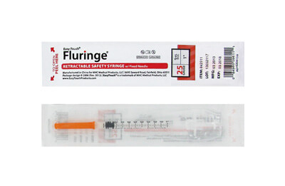 Easy Touch 25 Gauge 1 CC 1 in Fluringe Retractable Safety Syringe w/ Fixed Needle 1 ea Model 842511