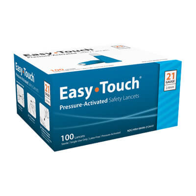 Easy Touch 21 Gauge Pressure Activated Safety Lancets - 100 ea - Expires 10/2019