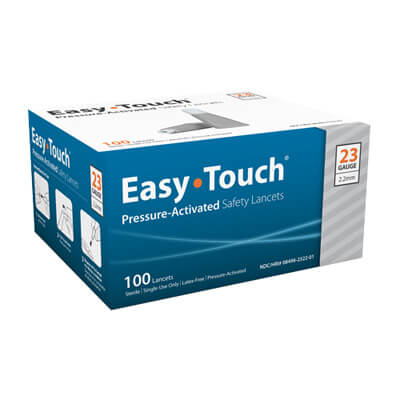 Easy Touch 23 Gauge Pressure Activated Safety Lancets - 100 ea
