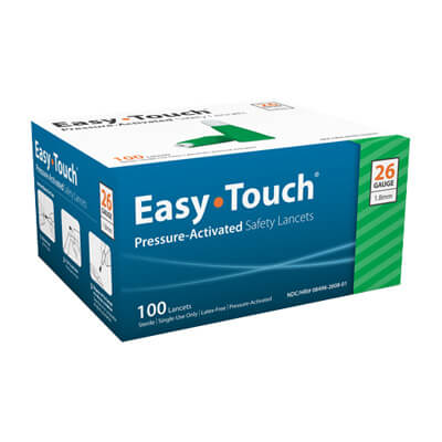 Easy Touch 26 Gauge Pressure Activated Safety Lancets - 100 ea