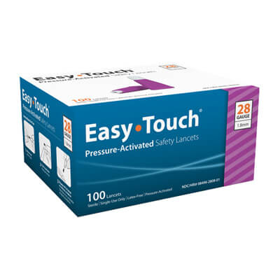 Easy Touch 28 Gauge Pressure Activated Safety Lancets - 100 ea