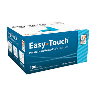 Easy Touch 30 Gauge Pressure Activated Safety Lancets - 100 ea