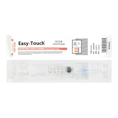 Easy Touch 23 Gauge 3 cc 1 in Retractable Safety Syringe w/ Exchangeable Needle 1 ea 872331