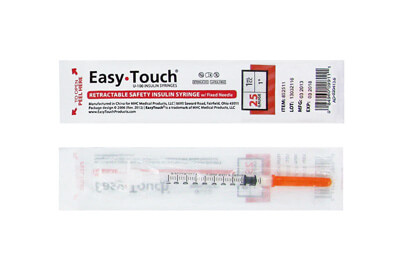 Easy Touch 25 Gauge 1 cc 1 in Retractable Safety Syringe w/ Fixed Needle 1 ea Model 852511