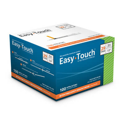 Easy Touch Retractable Insulin Safety Syringe 29 Gauge 0.5 cc 1/2 inch w/ Fixed Needle 100 ea