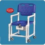 Elite Commode / Shower Chair Fixed Arm PVC Frame With Backrest 17 in