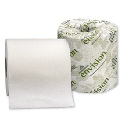 Envision Toilet Tissue White 1-Ply Standard Size Cored Roll 1210 Sheets 4 X 4.05 Inch - Case of 80