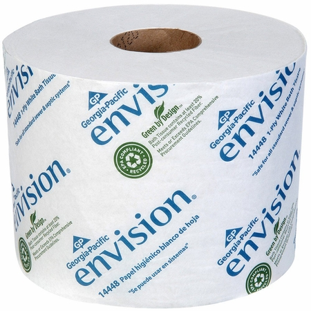 Envision Toilet Tissue White 1-Ply Standard Size Cored Roll 1500 Sheets 3.95 X 4.05 Inch - Case of 48