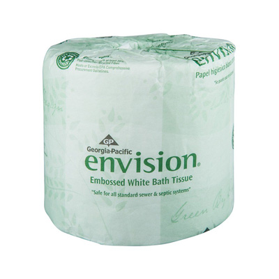 Envision Toilet Tissue White 1-Ply Standard Size Cored Roll 550 Sheets 4 X 4.05 Inch - Case of 80