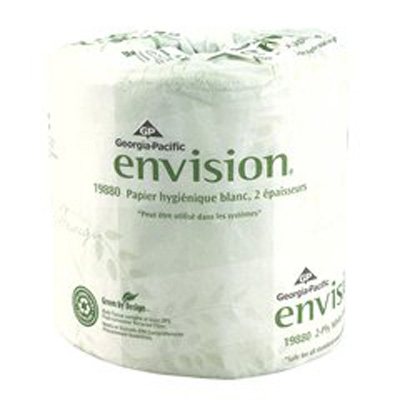 Envision Toilet Tissue White 2-Ply Standard Size Cored Roll 550 Sheets 4 X 4.05 Inch - Case of 80