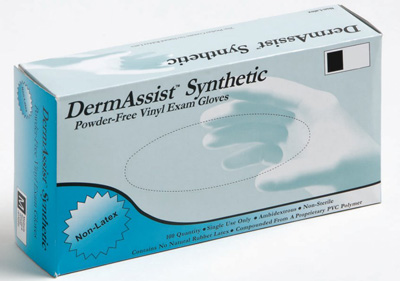 Exam Glove DermAssist NonSterile Cream Powder Free Vinyl Ambidextrous Smooth Not Chemo Approved X-Large