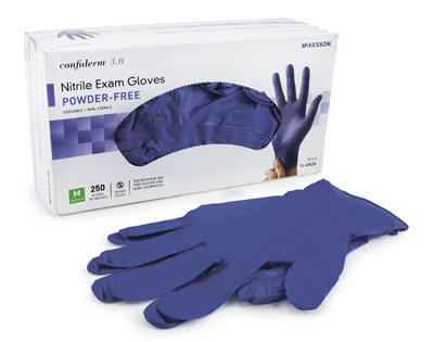 Exam Glove McKesson Confiderm 3.0 NonSterile Blue Powder Free Nitrile Ambidextrous Textured Fingertips Not Chemo Approved Medium