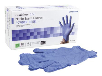 Exam Glove McKesson Confiderm 3.5C NonSterile Blue Powder Free Nitrile Ambidextrous Textured Fingertips Chemo Tested Medium
