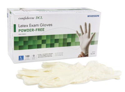 Exam Glove McKesson Confiderm NonSterile Ivory Powder Free Latex Ambidextrous Smooth Not Chemo Approved Large