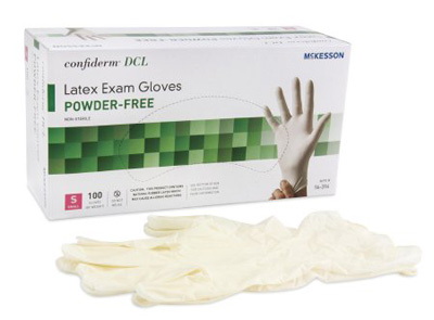 Exam Glove McKesson Confiderm NonSterile Ivory Powder Free Latex Ambidextrous Smooth Not Chemo Approved Small