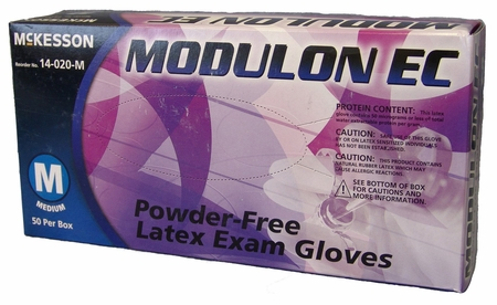 Exam Glove McKesson MODULON EC NonSterile Ivory Powder Free Latex Ambidextrous Textured Fingertips Not Chemo Approved Large
