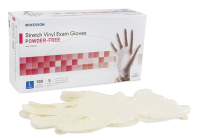 Exam Glove McKesson NonSterile Ivory Powder Free Stretch Vinyl Ambidextrous Smooth Not Chemo Approved Large