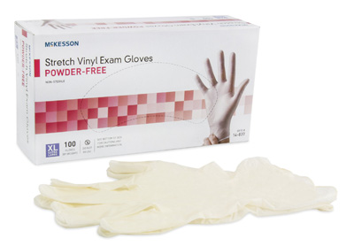 Exam Glove McKesson NonSterile Ivory Powder Free Stretch Vinyl Ambidextrous Smooth Not Chemo Approved X-Large