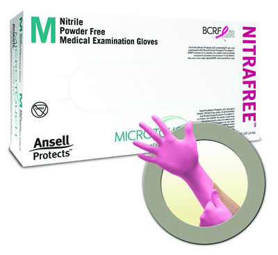 Exam Glove Micro-Touch NitraFree NonSterile Pink Powder Free Nitrile Ambidextrous Textured Fingertips Chemo Tested Small