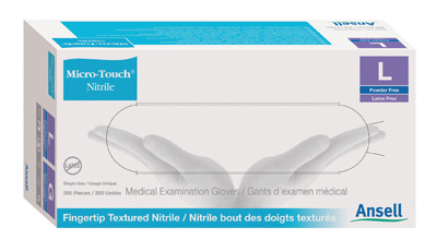 Exam Glove Micro-Touch Nitrile NonSterile Blue Powder Free Nitrile Ambidextrous Textured Fingertips Chemo Tested Large