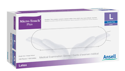 Exam Glove Micro-Touch Plus NonSterile Ivory Powder Free Latex Ambidextrous Fully Textured Not Chemo Approved Small