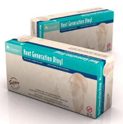 Exam Glove Next Generation Vinyl NonSterile Ivory Powder Free Stretch Vinyl Ambidextrous Smooth Not Chemo Approved Large