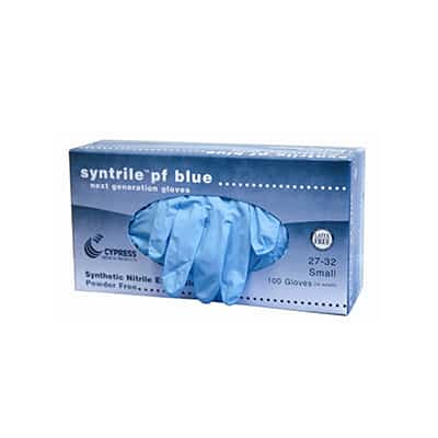 Exam Glove syntrile pf blue NonSterile Blue Powder Free Nitrile Ambidextrous Fully Textured Not Chemo Approved Small