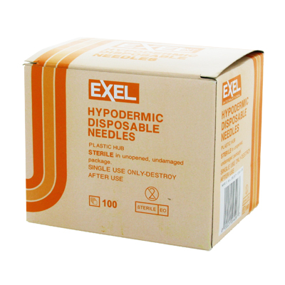 Exel 26405 Hypodermic Needle - 25 Gauge x 1 in 100 count