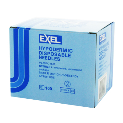 Exel 26408 Hypodermic Needle - 23 Gauge x 1 in 100 count