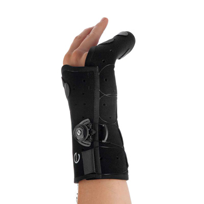 Exos Hand Brace Boxer's Fracture Brace Thermoformable Polymer Right Hand Black Medium