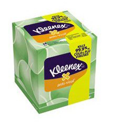 Facial Tissue Kleenex Boutique Anti-Viral White 8-1/5 X 8-1/5 Inch
