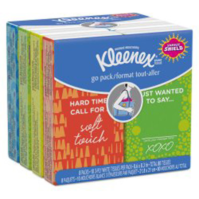 Facial Tissue Kleenex Pocket Pack White 8-3/10 X 8-3/5 Inch
