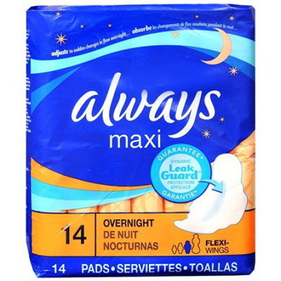 Feminine Pad Always Maxi Overnight Absorbency - Case of 168