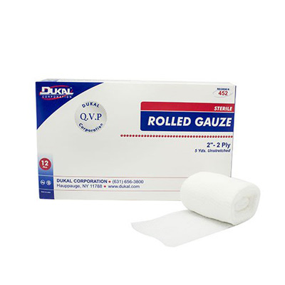 Dukal Fluff Dressing Cotton Gauze 2-Ply 2 Inch X 5 Yard Roll Sterile - Case of 96