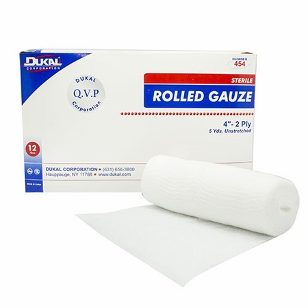 Dukal Fluff Dressing Cotton Gauze 2-Ply 4 Inch X 5 Yard Roll Sterile - Case of 96