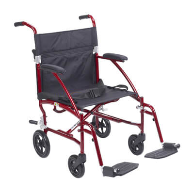 Drive Medical Fly Lite Ultra Lightweight Burgundy Transport Wheelchair dfl19-rd