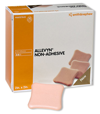 Allevyn Foam Dressing 2 X 2 Inch Square Non-Adhesive without Border Sterile - Case of 60