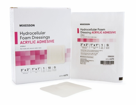 Foam Dressing McKesson 3 X 3 Inch Square Acrylic Adhesive with Border Sterile
