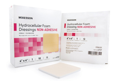 Foam Dressing McKesson 4 X 4 Inch Square Non-Adhesive without Border Sterile - 4737