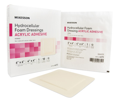 Foam Dressing McKesson 6 X 6 Inch Square Acrylic Adhesive with Border Sterile