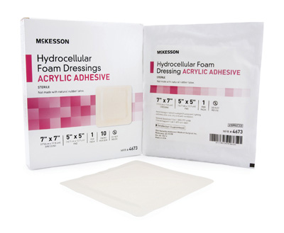 Foam Dressing McKesson 7 X 7 Inch Sacral Acrylic Adhesive with Border Sterile