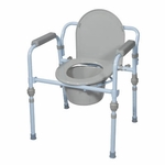 Drive Medical Folding Bedside Commode with Bucket and Splash Guard rtl11148kdr