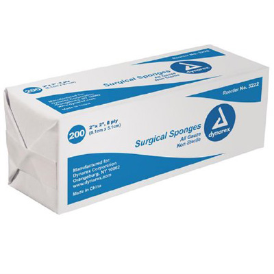 Dynarex Gauze Sponge Cotton 8-Ply 2 X 2 Inch Square NonSterile - Case of 5000