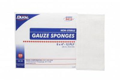 Gauze Sponge Dukal Gauze 12-Ply 8 X 4 Inch Rectangle NonSterile