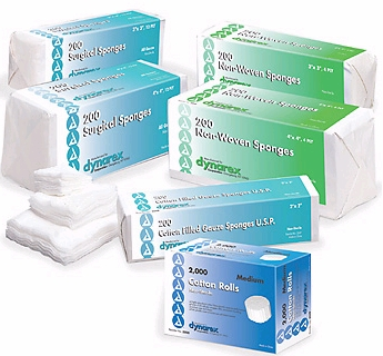 Gauze Sponge Dynarex Cotton 12-Ply 3 X 3 Inch Square NonSterile