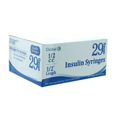 Global 29G .5cc 1/2 in Insulin Syringe