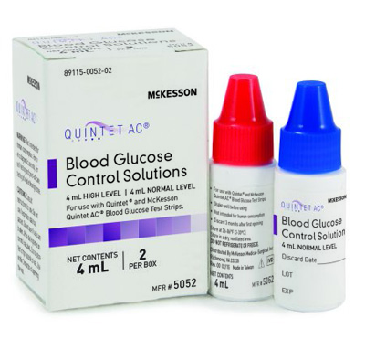 Glucose Control Solution Consult Blood Glucose Testing (2) 4 mL Vials Normal / High
