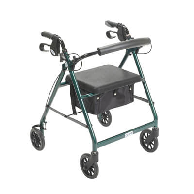 Drive Medical Green Rollator Walker with Fold Up and Removable Back Support and Padded Seat Model r726gr