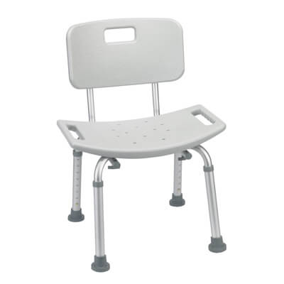 Drive Medical Grey Bathroom Safety Shower Tub Bench Chair with Back rtl12202kdr