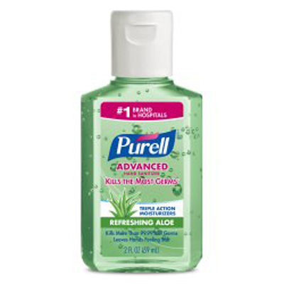 Hand Sanitizer with Aloe Purell 2 oz. Alcohol (Ethyl) Gel Bottle